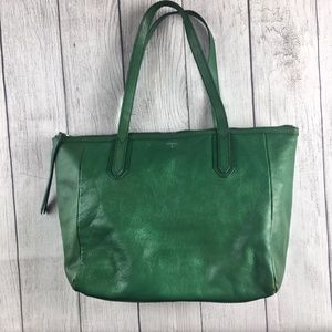 Fossil green leather tote bag zipper top